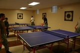 Cadets enjoying Ping Pong on the 3 tables located in the Jack Vanier Hall recreation center.