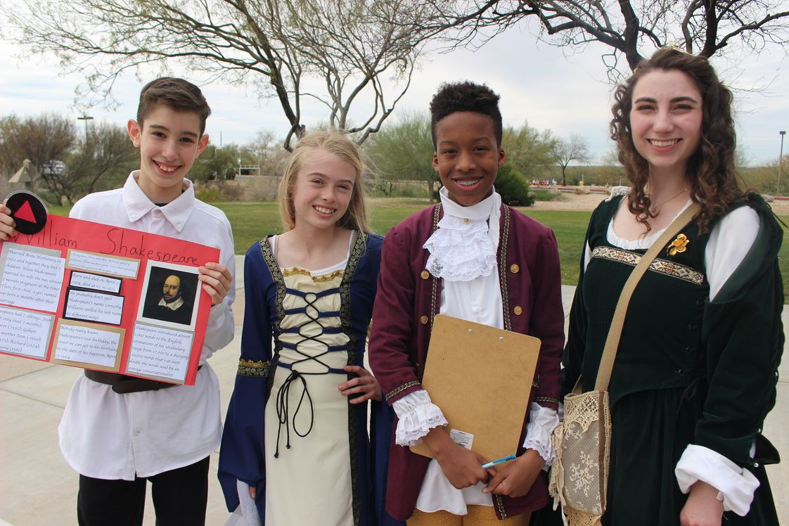 Pusch Ridge Christian Academy Photo - Students in all grades study Shakespeare as part of our classical curriculum, and are seen here at the annual Shakespeare Jubilee.