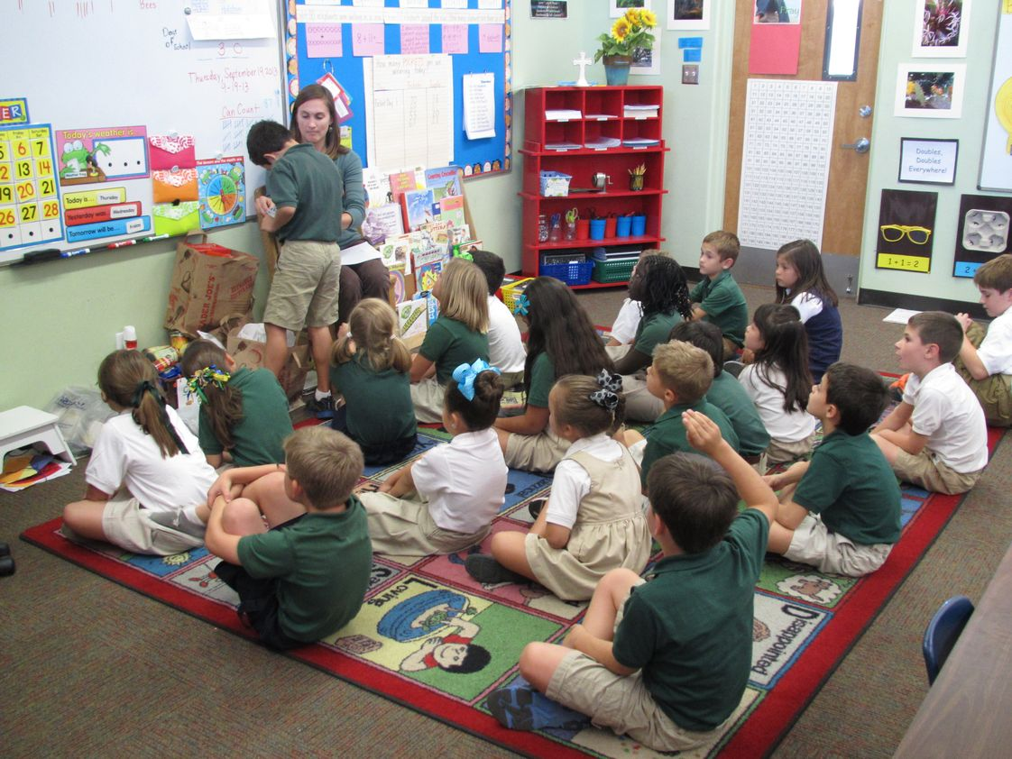 St Cyril Elementary School Photo #1 - A first and second grade homeroom working their calendar activities.