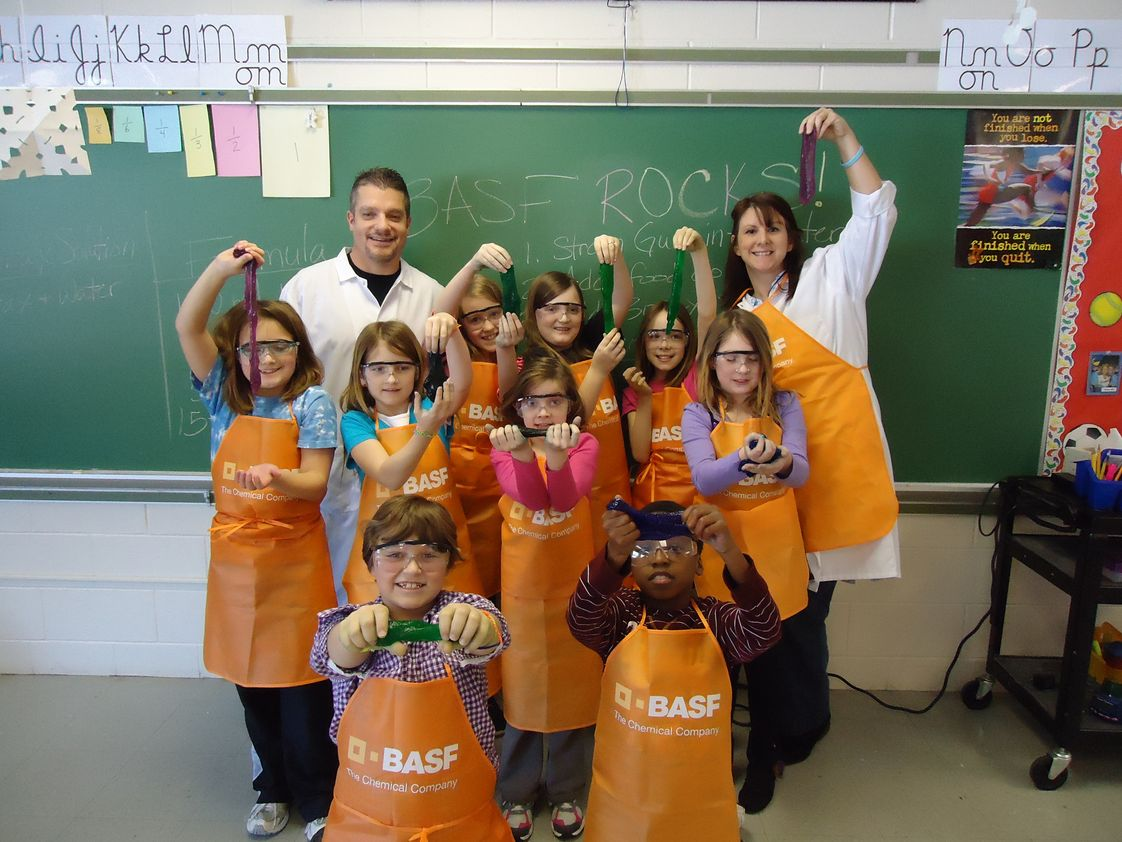 Community Christian School Photo - Showing off the slime we made with the help BASF.