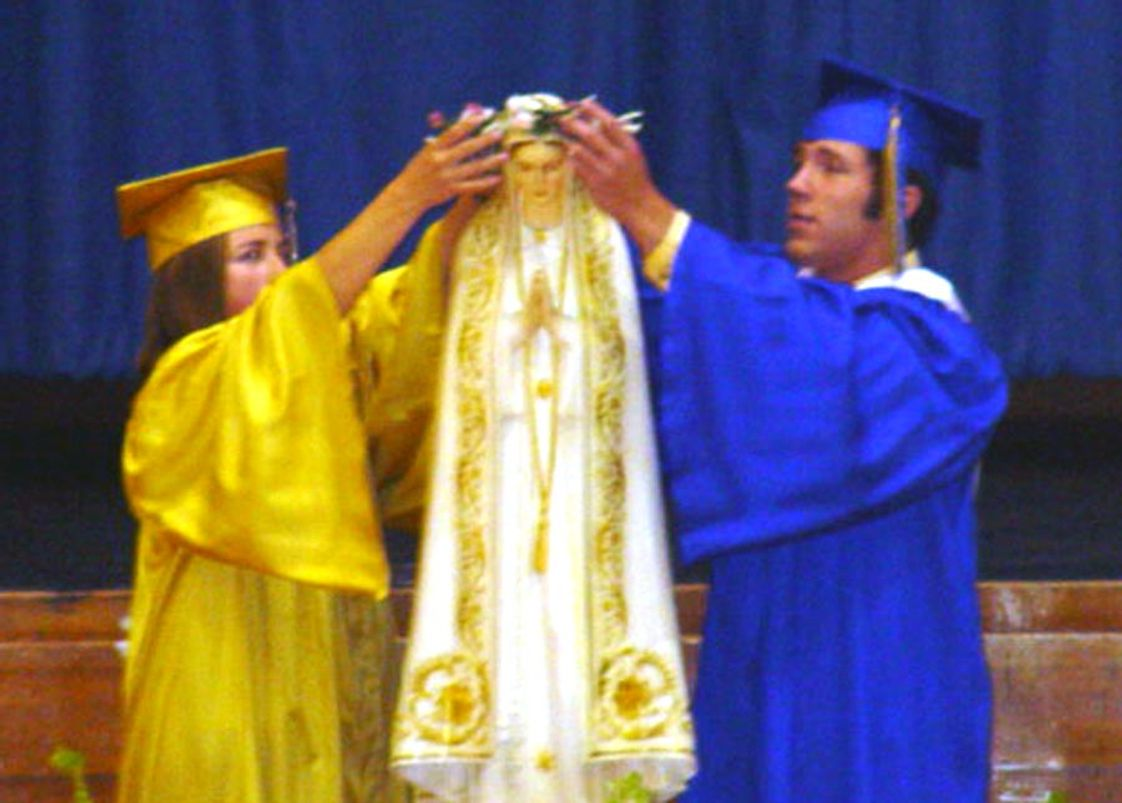 Bishop Heelan Catholic High School Photo - Bishop Heelan students crown Mary during the annual Marian Day assembly held each May