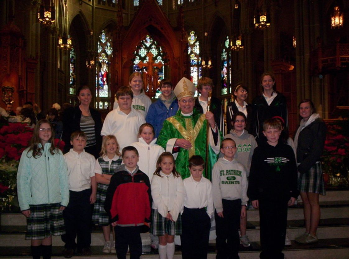 St. Patrick School Photo - During Catholic Schools Week students attended mass with Bishop Foys in Covington.
