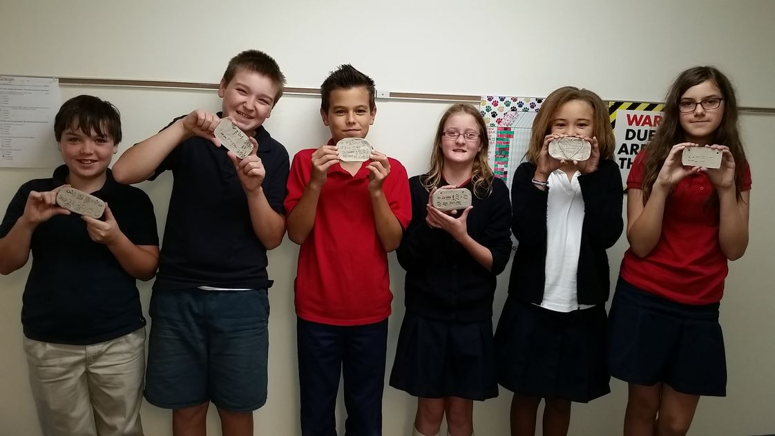 Arnold Christian Academy Photo #1 - The world history students created cuneiform tablets while learning about the ancient Sumerians of Mesopotamia.
