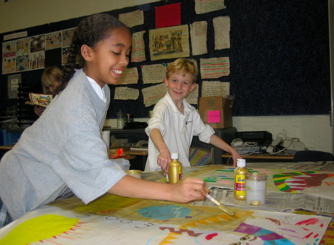 Cambridge School Photo - 3rd graders replicating Egyptian artwork in class