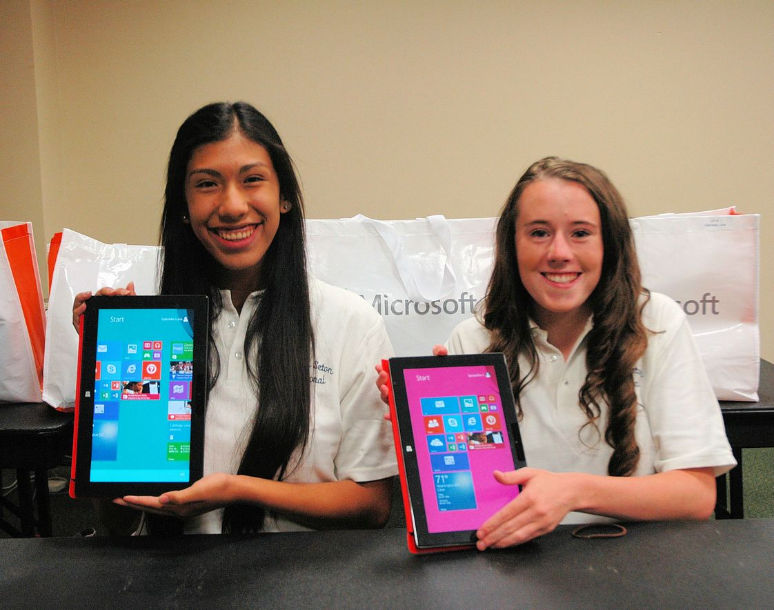 Mother Seton Regional High School Photo #1 - NEW TECHNOLOGY PROGRAM - All students get a Micsosoft Surface Tablet fully loaded with all Microsoft Office Products. Used for integrated learning in the classrooms and for homework.