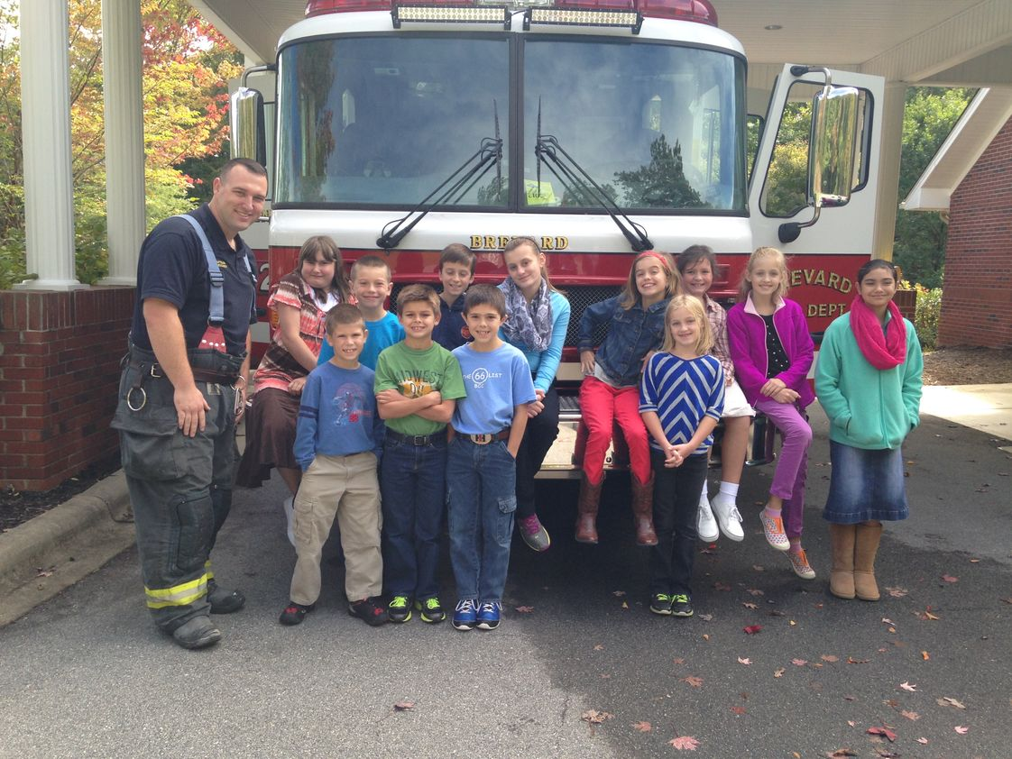Bethany Christian School Photo - We enjoy special activities such as a fire truck from the Brevard Fire Department.
