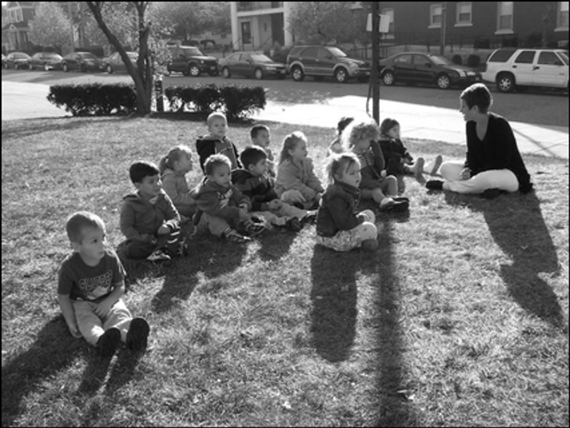 Holy Angels Elementary School Photo - Preschoolers enjoy some time outside