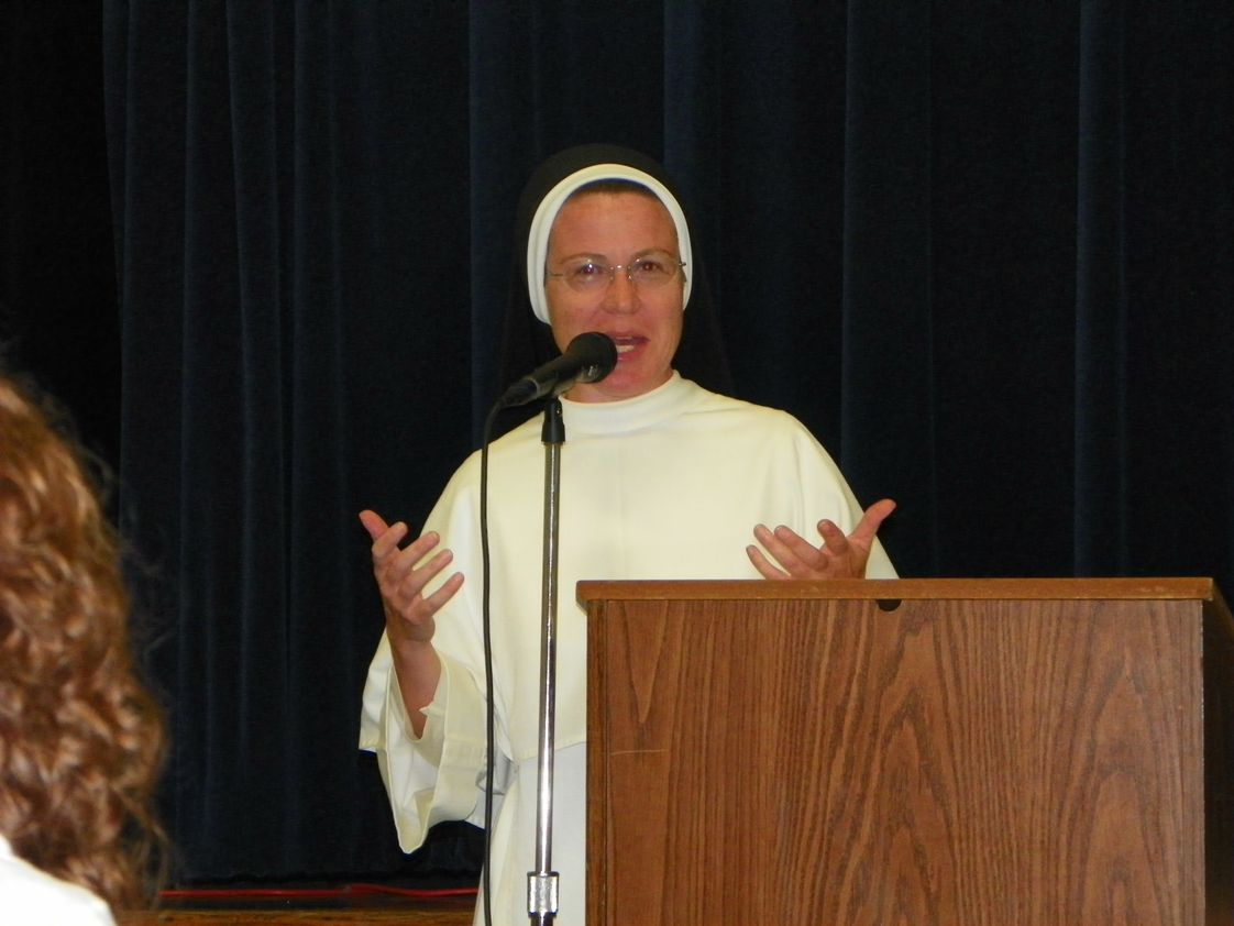"St Gertrude School Photo #1 - St. Gertrude School Principal, Sr Mary Aquinas, O.P., shares her top priority for the 2012-13 school year--Promoting Community--with parents at the ""Back to School"" event held on Aug 30."