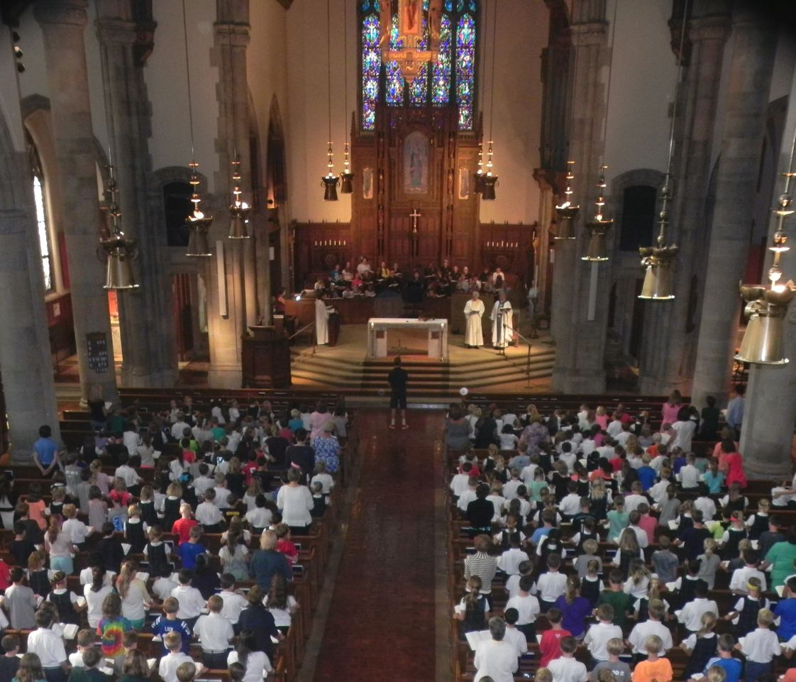 St. Mary School Photo - Grades K-8 attend an All School Mass in our beautiful historic St. Mary Church.