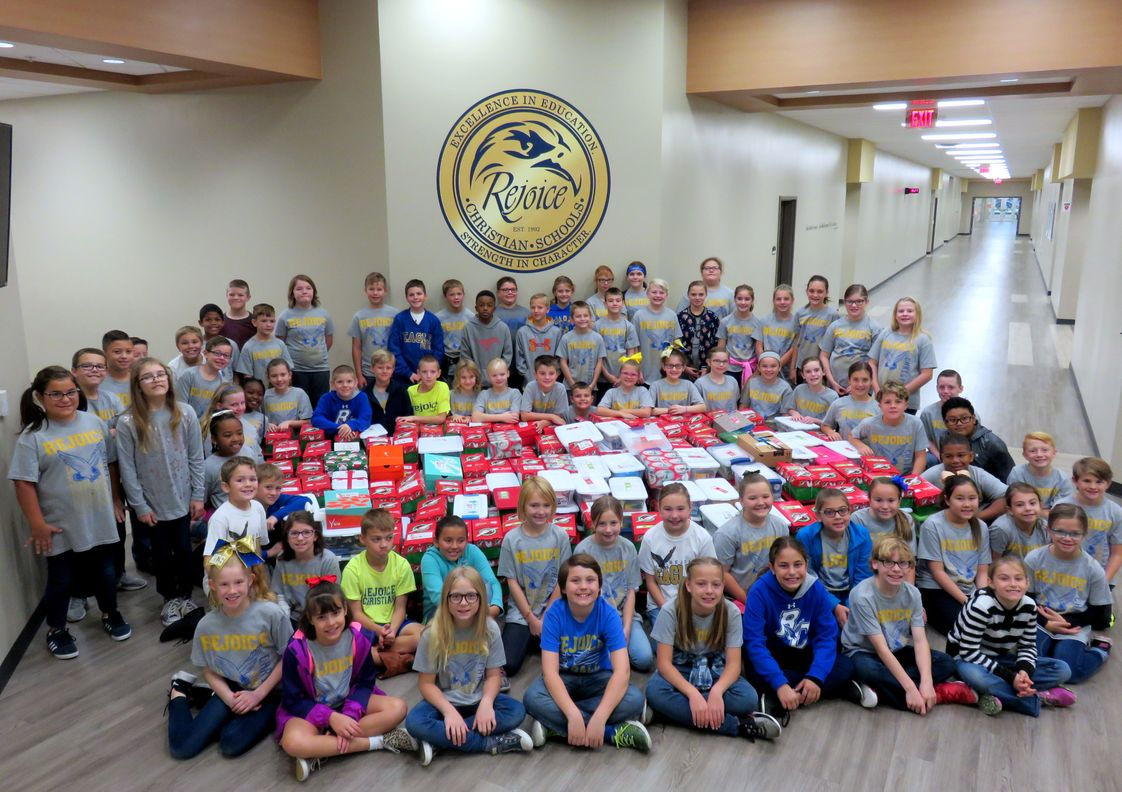 Rejoice Christian School Inc Photo - Every year the RCS fourth grade class works with Operation Christmas Child as their service project