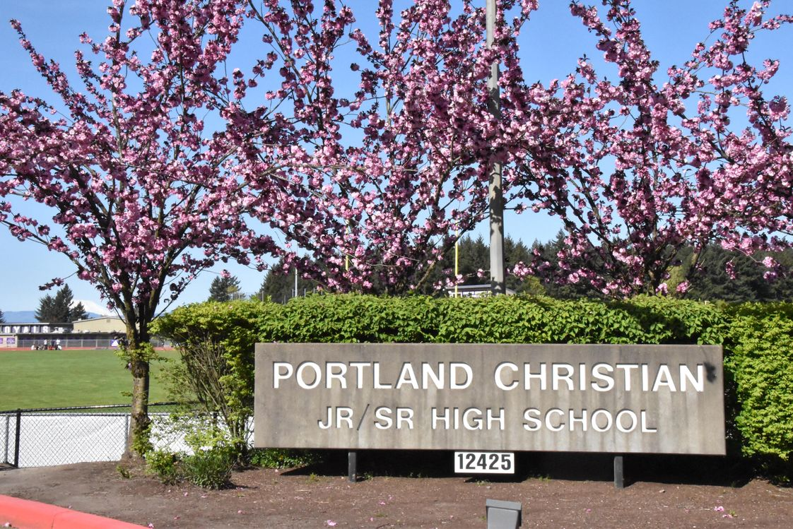 Portland Christian Jr./Sr. High School Photo #1 - School sign at entry way during the spring time