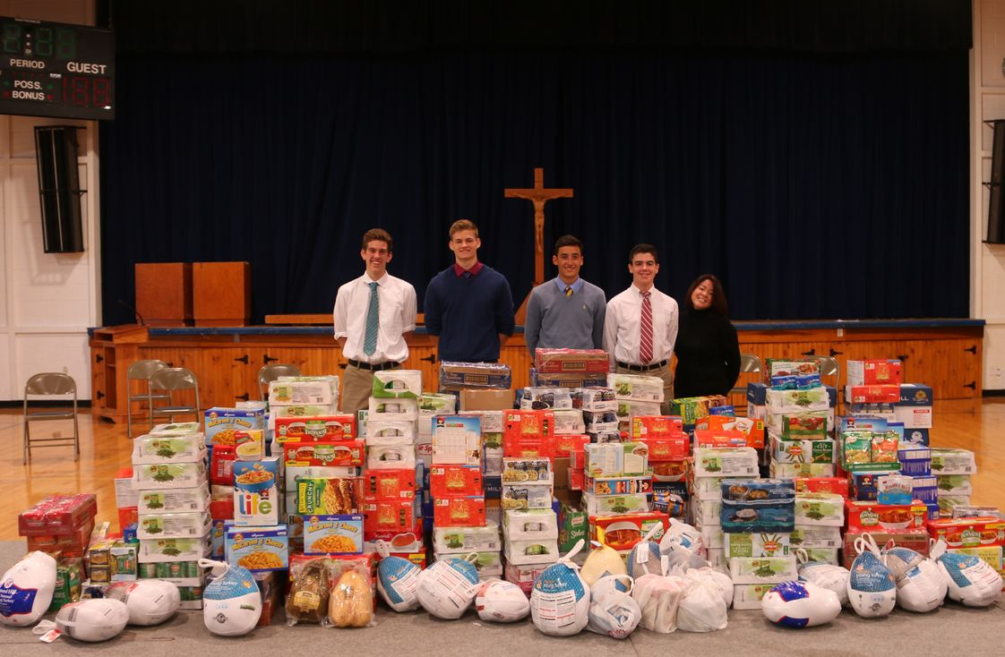 Devon Preparatory School Photo #1 - Each year members of Devon Prep's Christian Action Program (CAP) collects and delivers thousands of food items to an inner city community center for Thanksgiving.