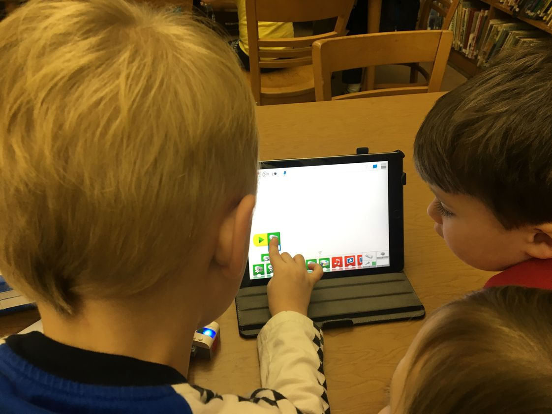 Our Lady Of Grace School Photo #1 - Preschoolers coding using Chromebooks.