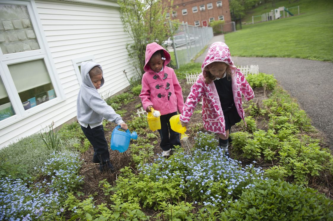 Shady Side Academy Junior School Photo #1 - Shady Side Academy has four campuses. The Junior School, located in Point Breeze, begins at PK and goes up to the fifth grade. On this seven-acre campus, our youngest students reside in the newest facility built specifically for their needs. This photo shows PK students tending their garden. Our second PK - 5 campus is located in Fox Chapel.