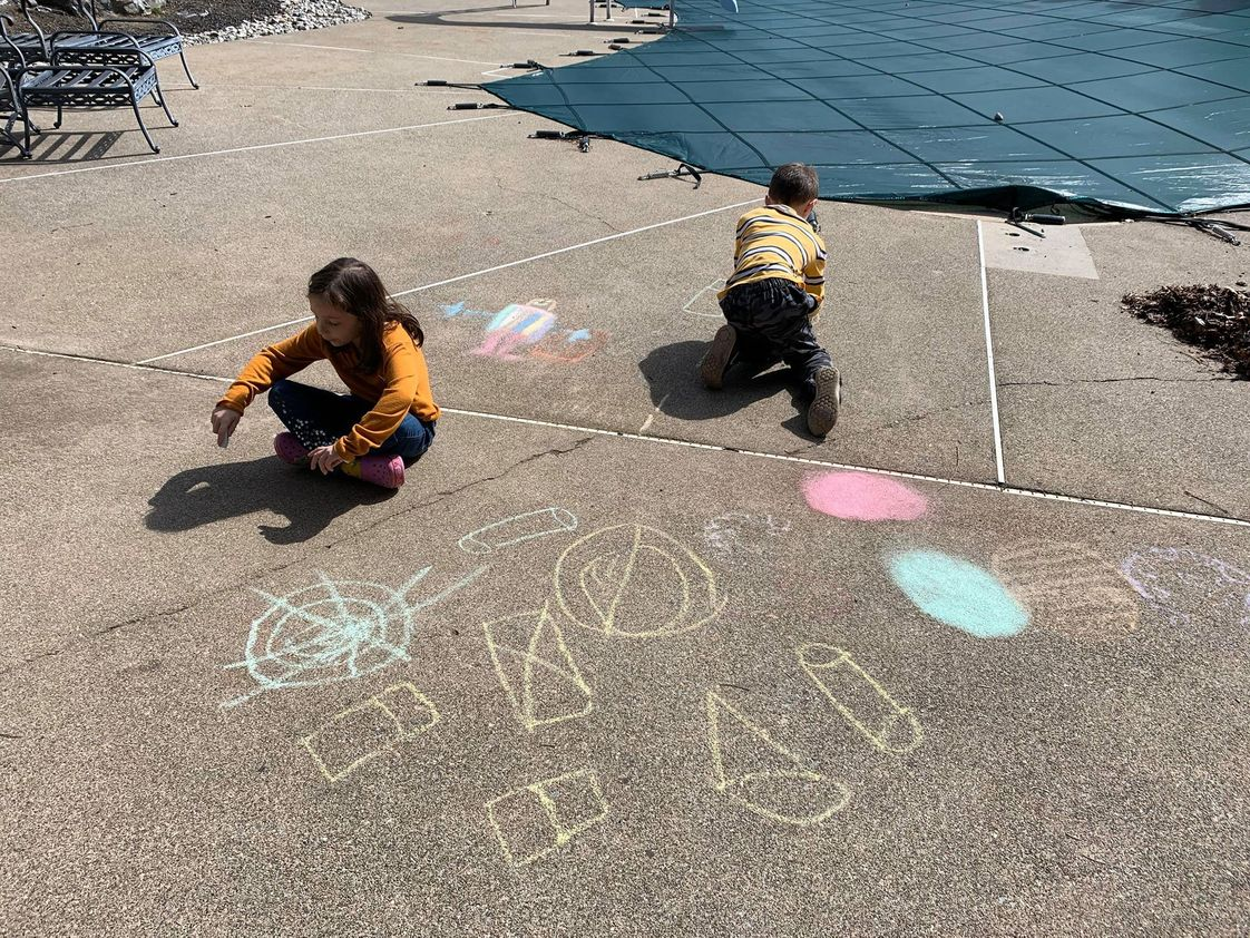 St. Jane Frances De Chantal School Photo - Our students are chalking their walks.