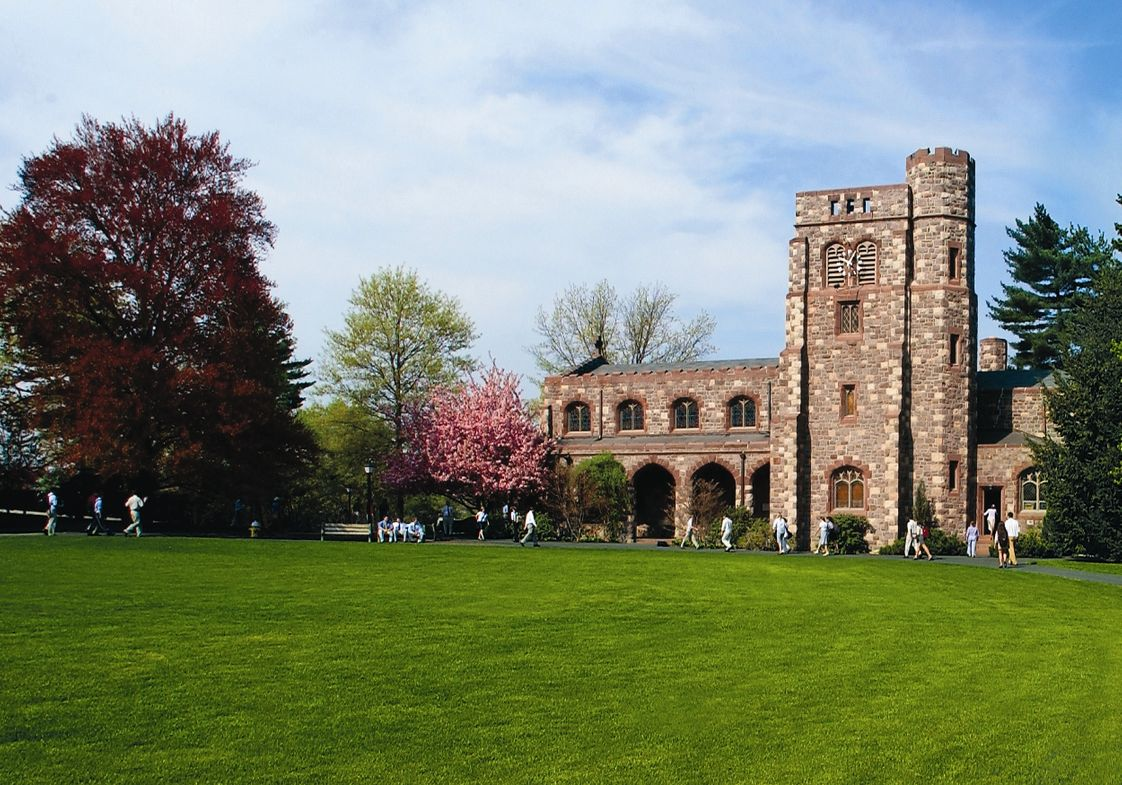 The Hill School Photo #1 - Students enjoy a beautiful spring day walking to the Alumni Memorial Chapel.