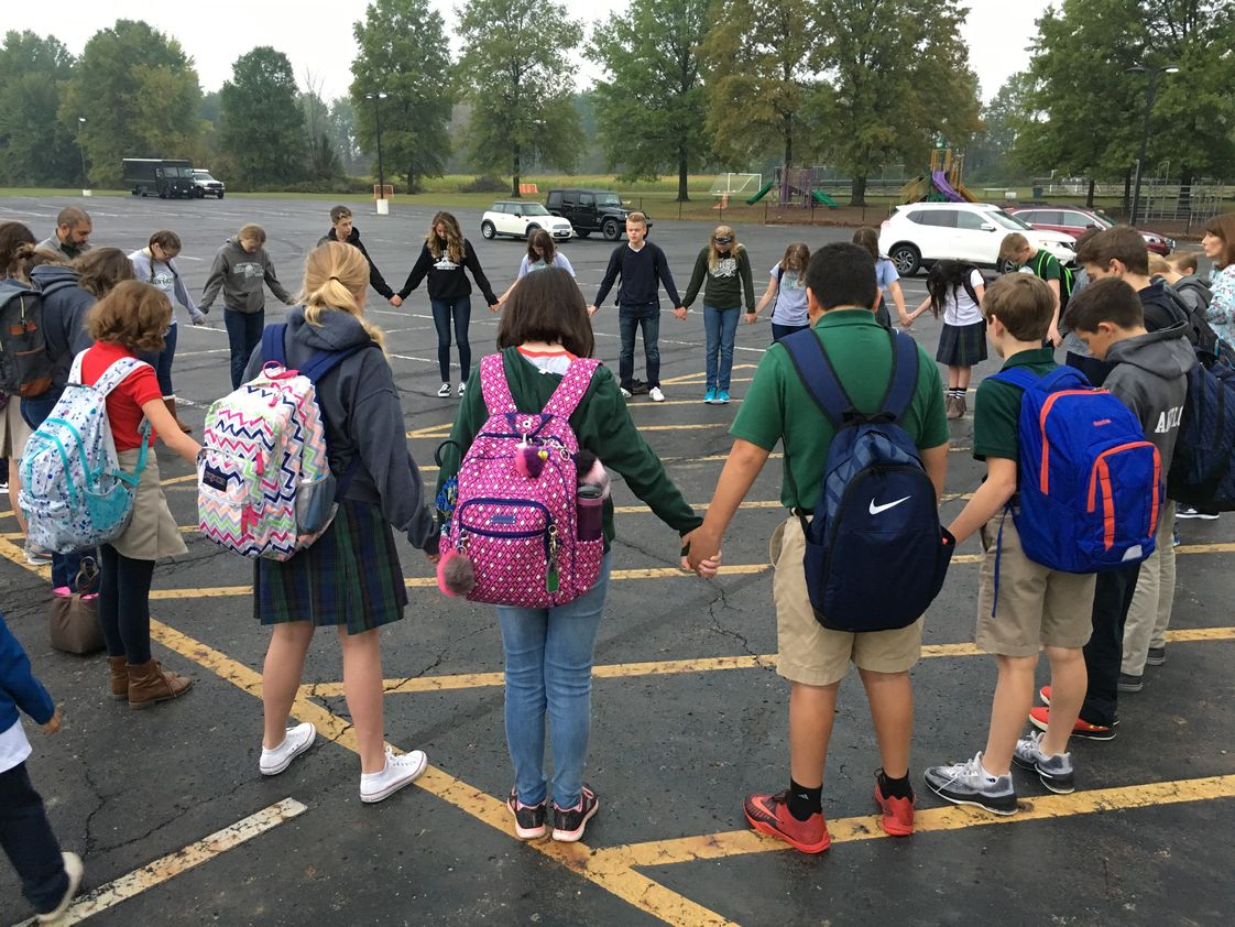 Genoa Christian Academy Photo #1 - Students lead prayer during the annual See You at the Pole event.
