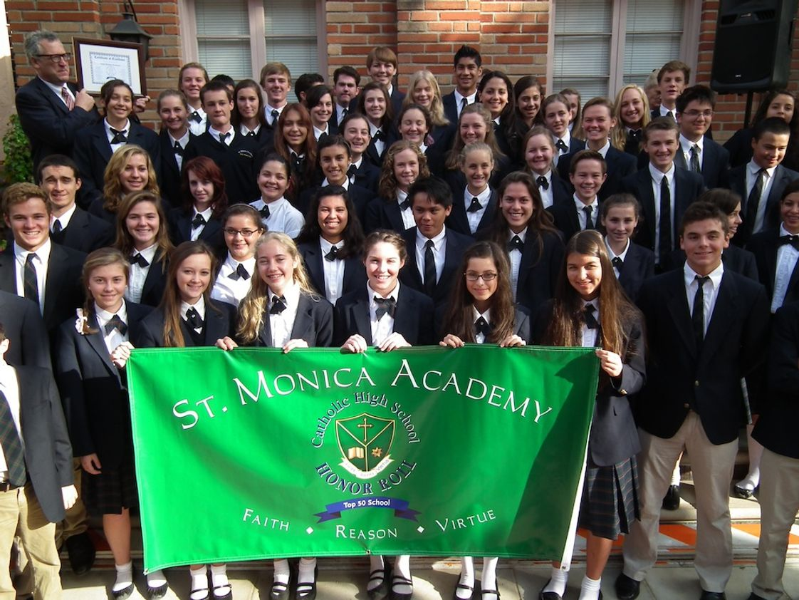 St. Monica Academy Photo - The Cardinal Newman Society recently named St. Monica Academy to the Catholic High School Honor Roll as one of the Top 50 Catholic high schools in the nation. Only three California schools received this prestigious award.
