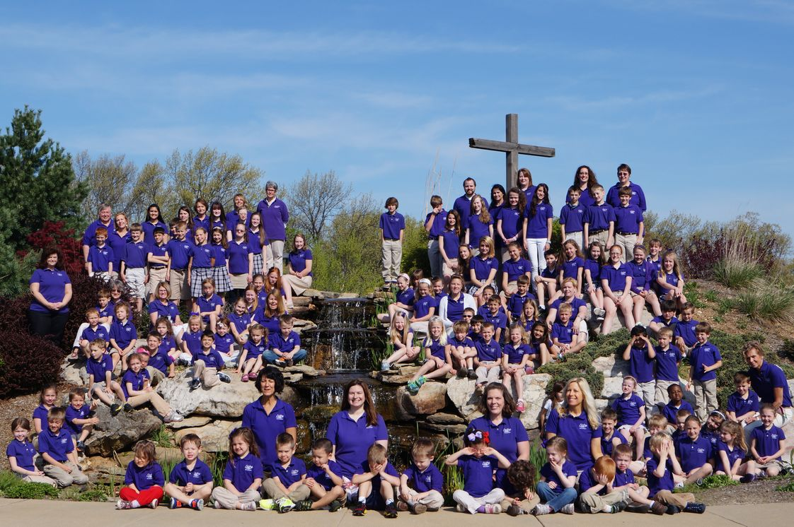 Living Water Academy Photo - Living Water Academy Family of Students, Faculty, and Staff. The annual all-school photo around the fountain is one of LWA's oldest and most cherished traditions.