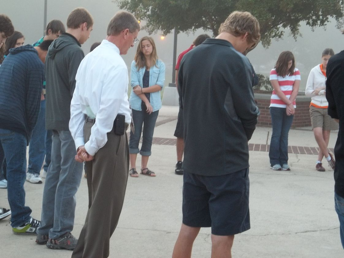 "University Christian High School Photo #1 - Students gather for ""See You at the Pole"" event."