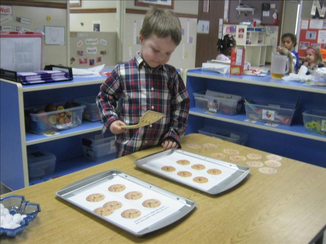 "Newington KinderCare Photo - Play is the brain's favorite ways to learn and we sure make learning fun! Our Preschool classrooms were ""baking cookies!"" These special cookies had uppercase and lowercase letters on top of them and the children were encouraged to match the uppercase letters with the lowercase letters! What a fun way to practice literacy skills!"