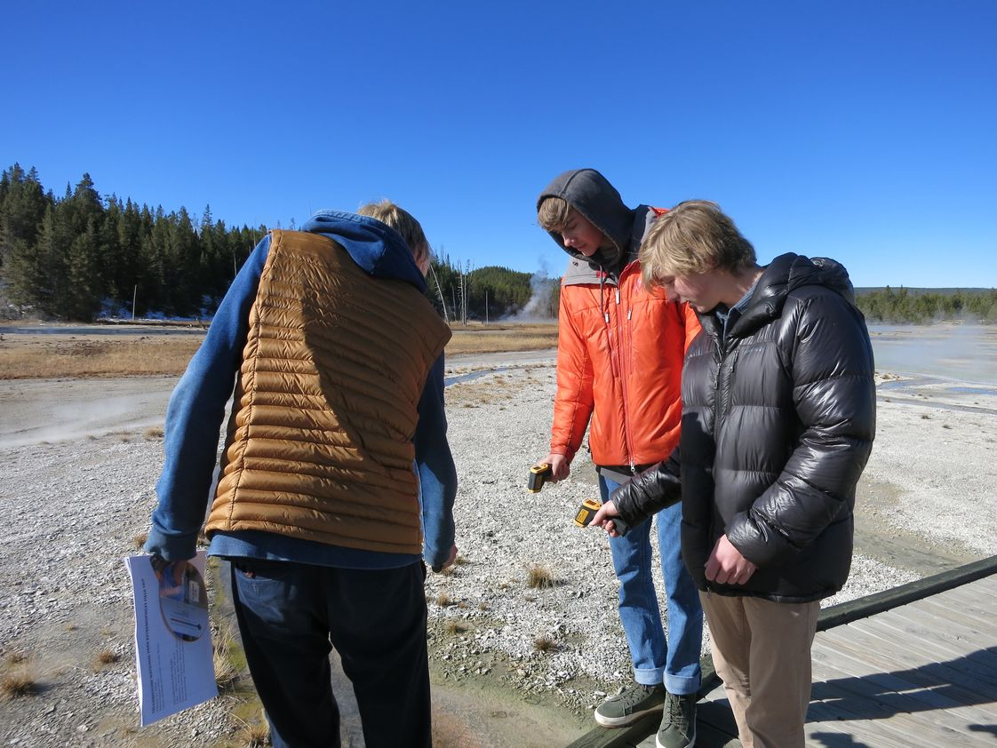 Jackson Hole Community School Photo - Students in Advanced Environmental Microbiology sampling in Yellowstone National Park