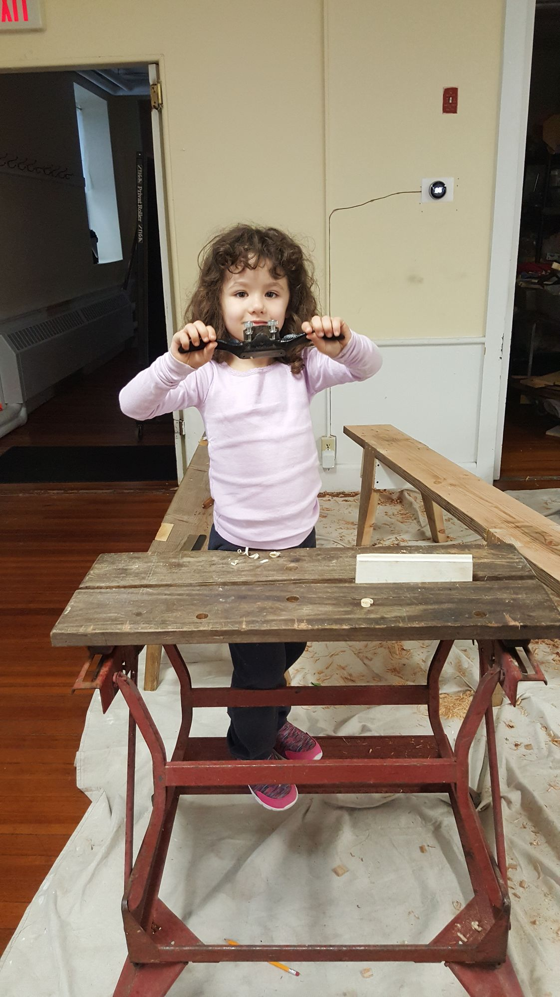 Longview School Photo - Our youngest student, 4 year old Maizie, is sanding their collaborative woodworking project.