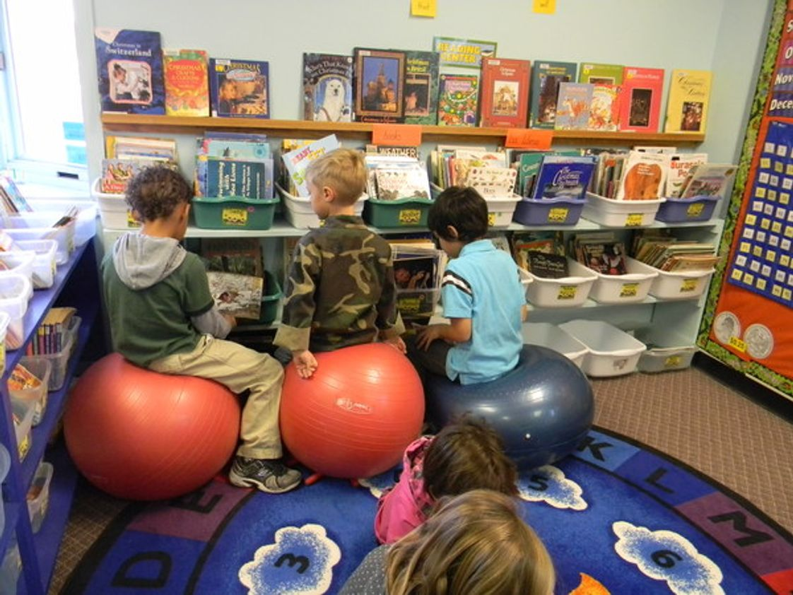 The Mcclelland School Photo #1 - The McClelland School has active seating in Kindergarten-2nd grade. We have stability disk in chairs at the student's desks and stability balls in the reading areas. This helps to stimulate blood flow, encourage active learning and develop core muscles.