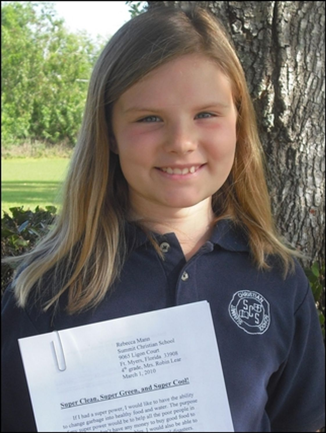 Summit Christian School Photo - A Summit 4th grader's essay was chosen over 9,000 entries to receive the 2010 Bic Pen Essay Contest first prize in the southeast division.