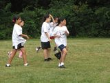 Students learn the basics of soccer during PE class.