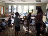 Lower Elementary students learning about the sun and the rotation of the Earth
