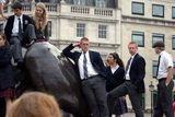 St. Andrew's students on the Lions at Trafalgar Square, London, England