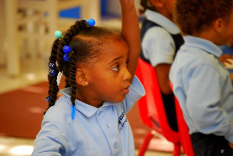 Pre-K 3 student Dakota is eager to answer a question!