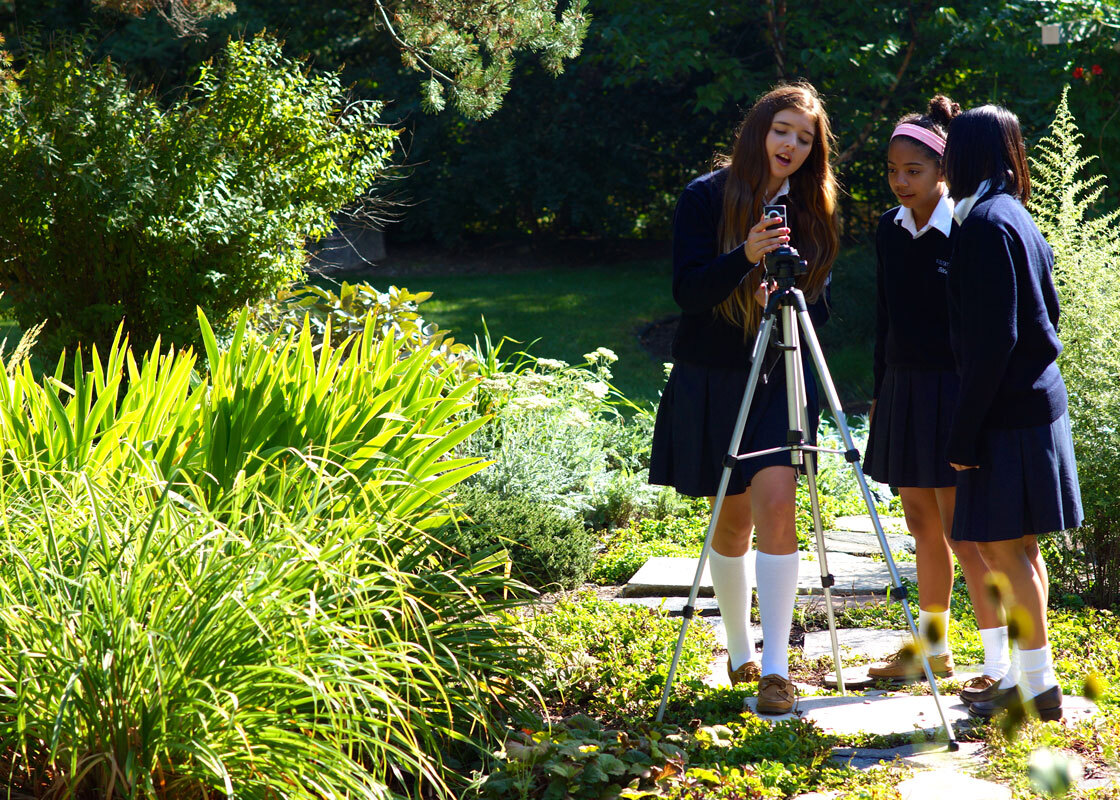 Convent Of The Visitation School Photo - Our beautiful 60 acre campus is used for classes from all departments at all grade levels. Here, Middle School students find plenty of photography class subjects in our outdoor classroom.