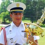 Lyman Ward Military Academy Photo #3 - Cadet Conde from Mexico holds the Presidents Cup, the award for best company.
