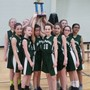 St. Patrick Elementary School Photo #3 - 6th Grade Girls Basketball Team with their 2nd Place trophy. Our students are able to participate in a variety of sports including Soccer, Cross Country, Volleyball, Basketball, Wrestling and Track.