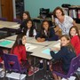 Saint Hilary School Photo - Ms. Potter greets sixth grade students in her new math lab.