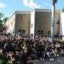 Bishop Verot Catholic High School Photo - Students gather in the courtyard for a Prayer Service.