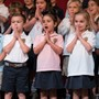 Spanish River Christian School Photo - Elementary students participating in weekly Chapel service
